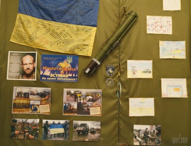 Экспонаты, посвященные АТО, в музее МВД Украины (г. Киев)